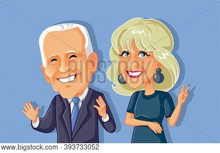 Ny, Usa, November 8, Jill And Joe Biden Vector Caricature