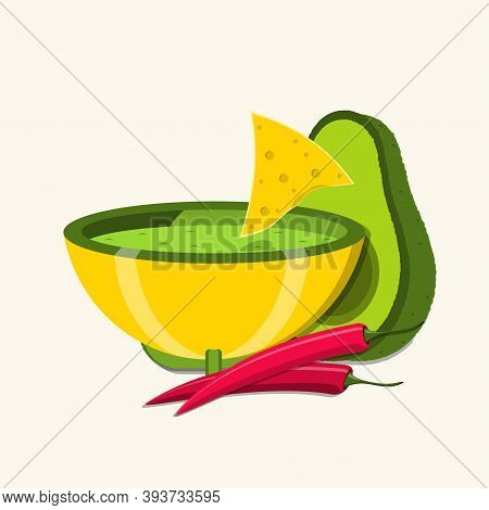 Bowl With Guacamole Dip, Avocado, Red Chili Peppers And Tortilla Or Nacho Chips For Snack. Vector Il