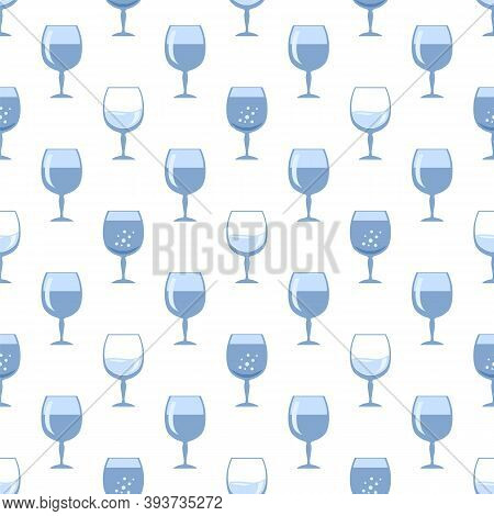 Blue Glass Of Wine Seamless Pattern Isolated On White Background. Wineglass Symbol. Glassware Concep