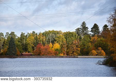 Waterfront With Colorful View In Fall Season