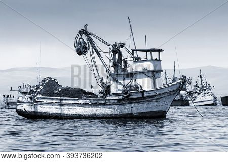 fishing boat in the bay, moored
