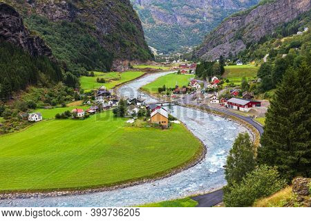 beautiful village in Flam, Norway