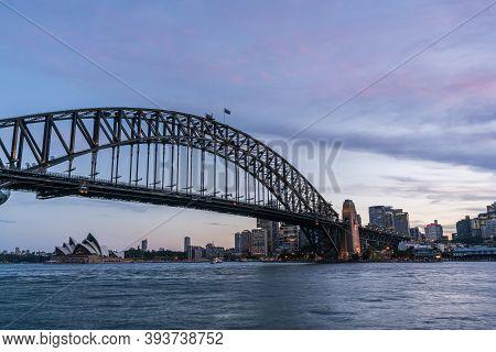 Sydney Harbor Bridge With Sydney Cbd Downtown Skyline At Sunset, Sydney, New South Wales, Australia.