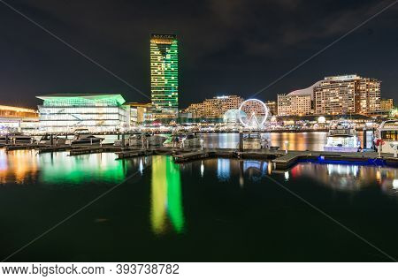 Sydney, Australia - Nov 15, 2017 : Darling Harbour Bay, Cbd, Business And Recreational Arcade In Syd