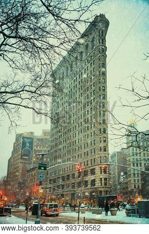 NEW YORK, USA - JAN 13, 2019: New York City street view in winter snow storm