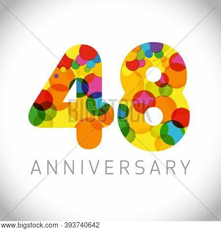 48 Th Anniversary Numbers. 48 Years Old Multicolored Congrats. Cute Congratulation Concept. Isolated