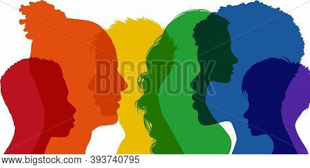 Banner Silhouette Group Of Adult People Transgender Men And Women - Homosexual - Lesbian - Gay - Het