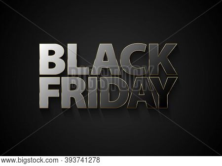 Black Friday Vector Mirror Text With Glossy Black Glass Effect Reflection Letters And Thin Golden Fr