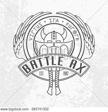 Two Viking Battle Axes And Horned Helmet Linear Logo Design. Round Shield With Valkyrie Wings. Milit