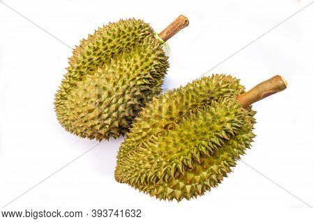Monthong Durians On White Background - Thai Fruit