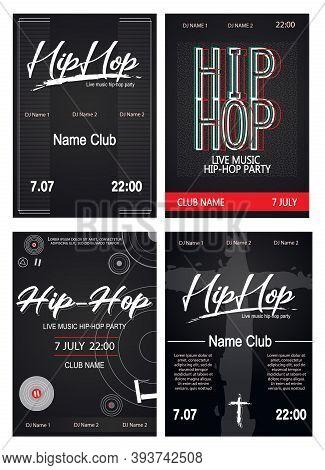 Hip Hop Music Party Posters Set Dark Theme