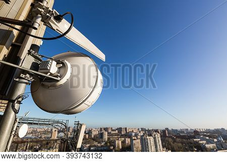 Metal Construction For Telecommunication Data Equipment Or Mast With Microwave, Radio Panel Antennas