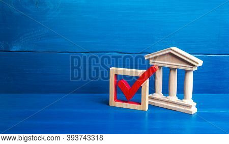 Government Building And Red Check Mark. Presidential Or Parliamental Democratic Elections, Referendu