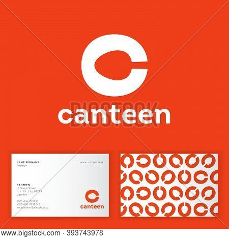 Canteen, Bistro, Cafe Logo. Letter C With Spoon, Isolated On An Orange Background. Identity, Busines