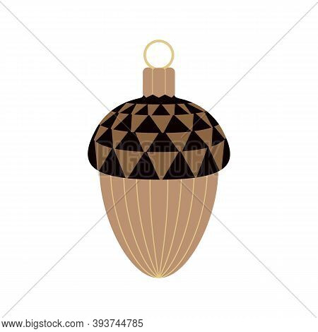 Oak Acorn Decoration Minimalist Flat Color Vector Icon. Hand Drawn Acorn Brown Color Cartoon Isolate