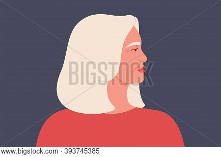 Mature Caucasian Woman Portrait Side View. Confident Senior Business Female With Gray Middle Hair An