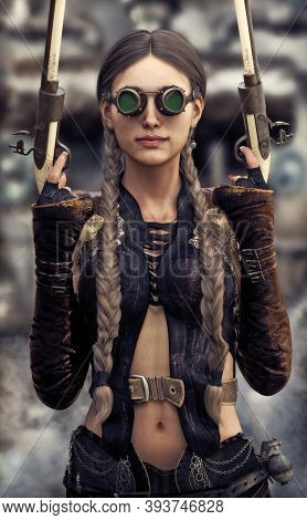 Portrait Of A Beautiful Steampunk Woman Gunslinger Holding Two Pistols  3d Rendering