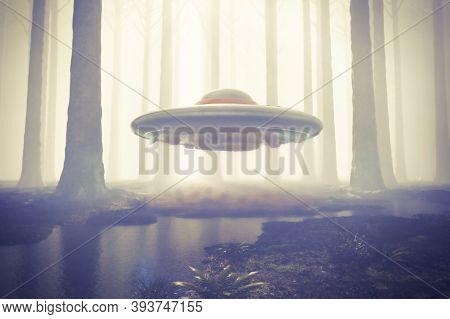 Scene Of A Ufo Hovering In The Woods With Magnetic Field Shimmer Below Its Surface. 3d Rendering