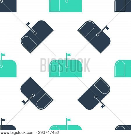 Green Mail Box Icon Isolated Seamless Pattern On White Background. Mailbox Icon. Mail Postbox On Pol