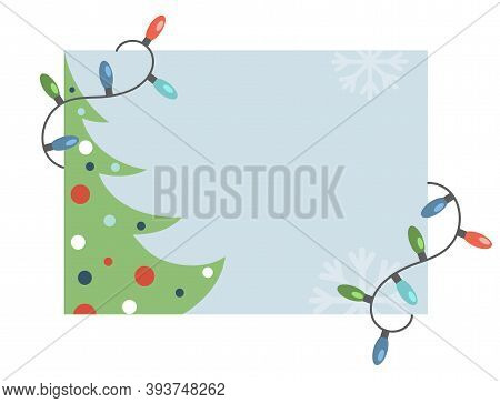 Happy New Year And Merry Christmas Invitation Card Template. Decorated Christmas Tree And Bright Gar