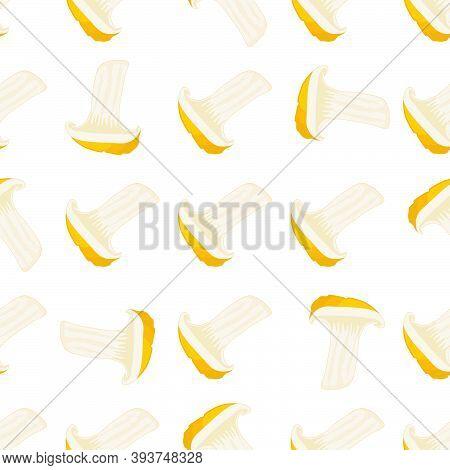 Illustration On Theme Bright Pattern Mushroom, Vegetable Chanterelle For Seal. Vegetable Pattern Con