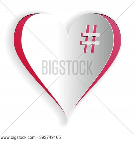 Paper Cut The Hash Love Icon. Hashtag Heart Symbol Icon Isolated On White Background. Paper Art Styl