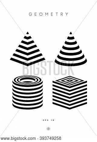 Optical Illusion Vector Pyramid. Cylinder Stripes Background. Cube Logo Optical Abstract Black And W