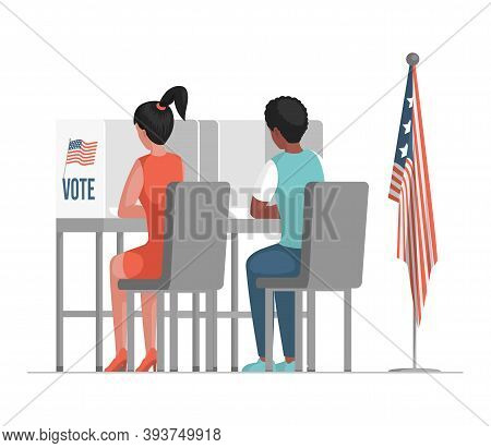 Election Day In The United States Of America Vector Flat Illustration. Man And Woman Sitting At Voti