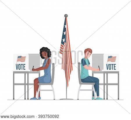 Happy Man And Woman Sitting At Voting Stands, Fill Casting Ballots, Voting, And Choosing Candidates