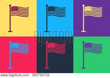Pop Art National Flag Of Usa On Flagpole Icon Isolated On Color Background. American Flag Sign. Vect