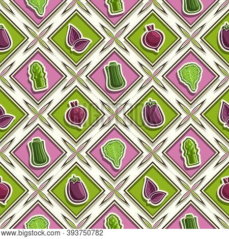 Vector Vegetable Seamless Pattern, Square Repeating Background, Isolated Illustrations Of Summer Veg