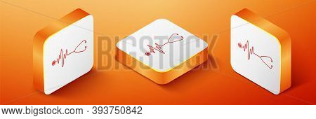 Isometric Stethoscope With A Heart Beat Icon Isolated On Orange Background. Medical Concept. Pulse C
