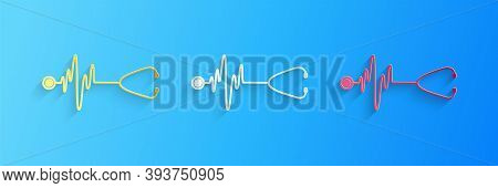 Paper Cut Stethoscope With A Heart Beat Icon Isolated On Blue Background. Medical Concept. Pulse Car