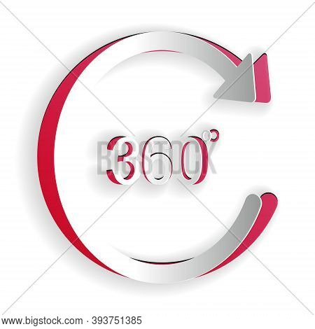 Paper Cut Angle 360 Degrees Icon Isolated On White Background. Rotation Of 360 Degrees. Geometry Mat