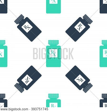 Green Pill Bottle With Rx Sign And Pills Icon Isolated Seamless Pattern On White Background. Pharmac