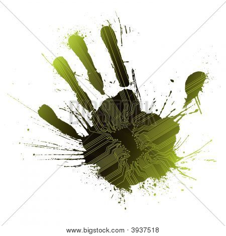 Technological Green Splatter Handprint