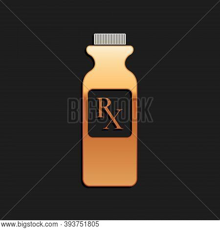 Gold Pill Bottle With Rx Sign And Pills Icon Isolated On Black Background. Pharmacy Design. Rx As A