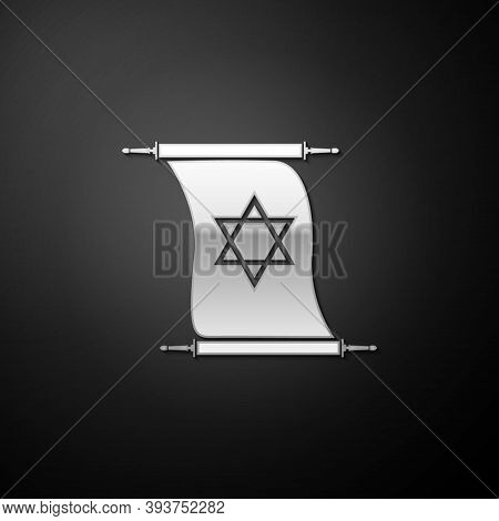 Silver Torah Scroll Icon Isolated On Black Background. Jewish Torah In Expanded Form. Torah Book. St