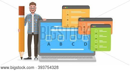 3d Isometric Flat Vector Conceptual Illustration Of Online Exam, Questionnaire Form