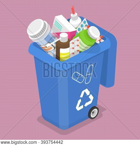 3d Isometric Vector Illustration Of Container For Expired And Unused Drugs.