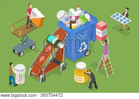 3d Isometric Vector Conceptual Illustration Of Expired And Unused Drugs Disposal.