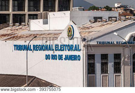 Rio De Janeiro, Brazil - December 22, 2008: Closeup Of Regional Electoral Tribunal Building White Wa