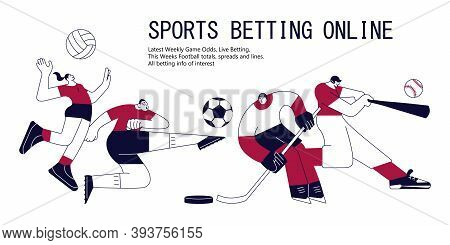 Sports Betting Banner With Athletes. Football, Volleyball, Baseball And Ice Hockey In Modern Outline