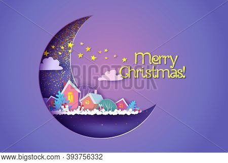 Funny Winter Village At The Night Inside Of Crescent Moon. Merry Christmas Card.