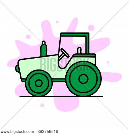 Field Tractor Icon. Outline Field Tractor Vector Icon For Web Design Isolated On White Background