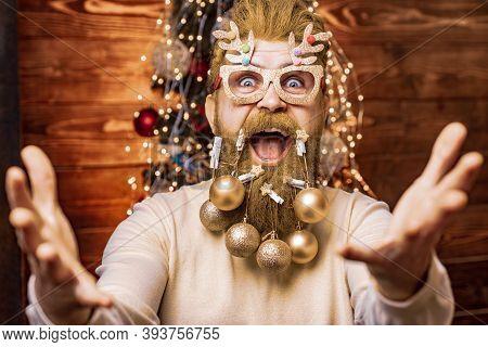 Funny Santa. Christmas Preparation - Man Celebrating New Year. Happy Santa Dressed In Winter Clothin
