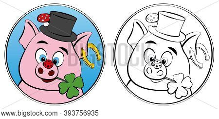 New Years Eve Coloring Sheet With Lucky Symbols For Children. Pig, Clover, Ladybug, Horseshoe, Toads