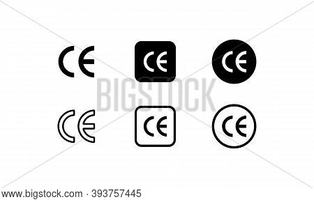 Ce Mark Icon Set. Ce Symbol. European Conformity Certification Mark. Vector On Isolated White Backgr