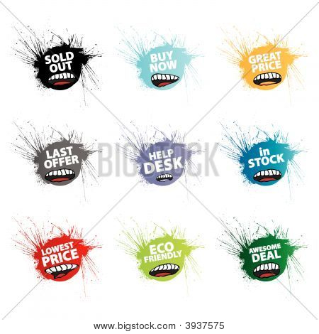 Funny Splatter Retail Tags