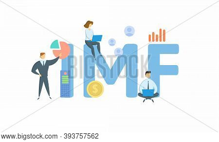 Imf, International Monetary Fund. Concept With Keyword, People And Icons. Flat Vector Illustration.